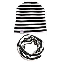 baby beanies algodón sólido al por mayor-SpringAutumn Kids Girls Boys Knit Beanie Stripe Solid Toddler Niños Sombreros Invierno Cute Cap Cotton Baby Hat Bufanda Set