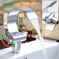 Wholesale Contemporary Style Bathrooms - KINSE Contemporary Art Style Chrome Finish Hot & Cold Waterfall Basin Faucet Single Hole Bathroom Faucet