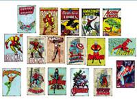 demir adam poster toptan satış-Toptan superman superhero Demir adam Flaş Örümcek adam Vintage Tabela Retro Metal Boyama Posteri Bar Pub İşaretler