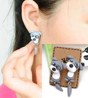 brincos de animal 3d venda por atacado-Cão cinza Dos Desenhos Animados Brincos Argila Do Polímero Argila Do Polímero 3D Animal Brincos Para As Mulheres Criança Menina Brinco Moda Jóias Presente D448L