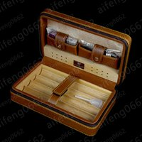 Wholesale cedar cigar case - High Grade 4 parts Cigarette Humidor Cigar Brown Leather Cedar Travel Case Humidor with Cutter and Lighter