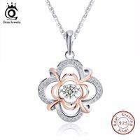 beweglicher halskettenanhänger großhandel-ORSA JEWELS Echtes 925 Silber Nette Blume Anhänger Halsketten gemischt Rose Gold Farbe mit Beweglichen 0,3 ct Kristall für Frauen SN14