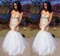 robes de soirée brodées d'or achat en gros de-Robe de soirée brodée or sirène 2019 chérie perlé 3D appliques paillettes perles en cristal robe de soirée robes de soirée