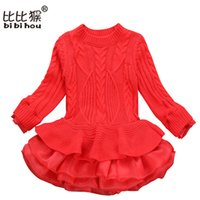 koreanische kinder mädchen wolle groihandel-Korean Bekleidungsgeschäft Pullover Woolen Dicke Warme Mädchen Kleider Gestrickte Chiffon Winter Kinder Mädchen Kleidung Kinder Kleidung Kleid