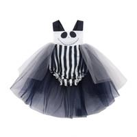 ec37d64ff77d Newborn Baby Girls Halloween One-Piece Romper Tutu Skirt Lace White and  Black Jumpsuit Chiffon Clothes Costume