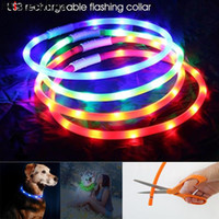 Wholesale dog collar led flash resale online - Rechargeable Flashing Night Dog Collars USB Luminous Pet Collar Led Light USB Charging Dog Collar Glowing Teddy Flash Collar Pet