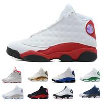 zapatos retro jordan al por mayor-2018 Zapatos de baloncesto para hombre nike Jordan Jordans air jordan jordans retro Retro 13 Bred Black True Red History Of Flight DMP Descuento Sports Shoe Mujeres Zapatillas 13s Black Cat