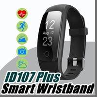 sh reloj al por mayor-Original inteligente ID107Plus HR Heart Rate Bracelet Monitor ID107 Plus Wristband Health Fitness Seguimiento para Android iOS Smart Watch I-SH