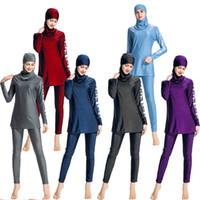 Wholesale modest swimwear online - New Muslim Swimsuit Sunscreen Ladies Swimwear Modest Swimwear With Flower Printed Muslim Swimming Clothes Surf Wear