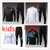 Wholesale Kids Football Suits - Top quality 2017 2018 Real Madrid kids Football jacket chandal tracksuit 17 18 RONALDO ASENSIO de foot ISCO youth jacket pants Training suit