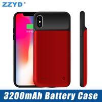 capa carregadores portátil iphone venda por atacado-Zzyd para iphone x carregador externo banco de energia case 3200 mah portátil phone backup bateria case com pacote de varejo