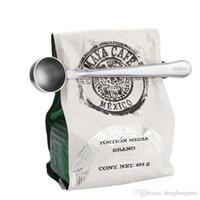 cuillère à cuire achat en gros de-Acier Inoxydable Café moulu thé lait en poudre Cuillère de Mesure Cuillère avec Sac Clip D'étanchéité Cuisine cuisine support outil DIY h126