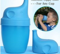 Wholesale Making Drinks - 60pcs Silicone Sippy Lids for baby drinking Silicone Sippy Lids Make Most Cups Sippy Leak Proof elephant design Anti-overflow cup lid