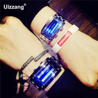 reloj de pulsera de reloj rojo led digital negro al por mayor-ZYLAN Moda Rojo Azul Luz LED Relojes de pulsera digitales de acero inoxidable completo Reloj de pulsera para Hombres Mujeres Unisex Negro Plata