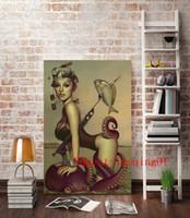 современный декор для рыбалки оптовых-Сексуальная Девушка Дайвинг Рыбалка Рисунок Пейзаж , Холст штук Home Decor HD печатных современное искусство живопись на холсте (без рамы / в рамке)