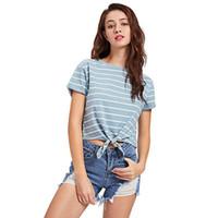 Wholesale harajuku bows - 6 Color Women Crop T Shirt New Fashion Striped Print T Shirt Harajuku Summer Casual Short Top Tee