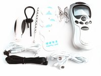 Wholesale Toys Sex Man Clips - BDSM Electric Shock Sex Toys for Men Bondage Gear Electro Pulse Shock Therapy Device Urethral Penis Plug Nipple Clips Cock Ring Anal Plug
