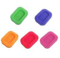 Wholesale kitchen sponges sale resale online - sales Wholesales Bathroom Kitchen Creative Mesh Sponge Soap Dish Box Shower Washing holder Random Color