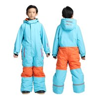 Wholesale winter ski jackets girls - One Piece Ski Suits Kids Winter Ski Suit for Girls Boys Skiing Baby Warm Jumpsuit Snow Sets Skiing Snowboard Jacket Pants