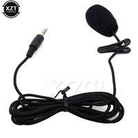 microfone longo venda por atacado-Mini 3.5mm Jack Microfone Microfones de Alta Qualidade de Lapela Para Falar Palestras de Discurso sobre 2.4m Cabo Longo