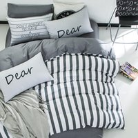 Wholesale boys queen sized bedding for sale - 4pcs cotton white grey stripe kids boys bedding set twin queen size bedcover set fit bedsheet duvet cover pillowcases