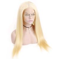 virgin lace wig venda por atacado-Loira 613 # Cor Brasileira Virgem Do Cabelo Humano Perucas Cheias Do Laço Densidade 150% Cabelo Liso Peruca Dianteira Do Laço Completo Com o Cabelo Do Bebê