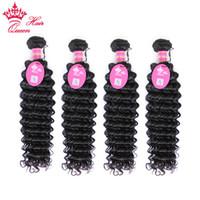 12 pc brazilian saç toptan satış-Kraliçe Saç Ürünleri Brezilyalı Kıvırcık Bakire Saç Uzantıları Karışık Uzunluğu 4 adetgrup DHL Ücretsiz Kargo Brezilyalı Derin Dalga 12
