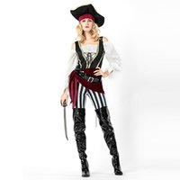 Wholesale pirates costumes for women for sale - Group buy Sexy Carnival Spanish Pirate Costume Buccaneer Fancy Dress with Hat Belt Theme Cosplay Uniform for Halloween