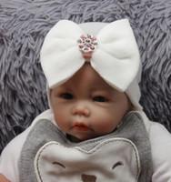 gorros recién nacidos del hospital al por mayor-Sombrero de hospital recién nacido Sombrero de bebé para bebé Gorro de punto con moño grande Suave Lindo nudo Beanie de guardería