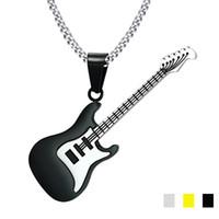 cadenas de guitarra al por mayor-53 MM Negro Guitarra Collares Joyas de Música Collar de Acero Inoxidable Colgantes Para Hombres Cadena Libre 24