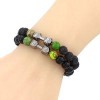 Wholesale colorful bracelets for men - 2017 Fashion hot colorful string Bracelets 4mm copper round beads 8mm zircon bracelet for sale in chain adjustable bangle bracelets for men