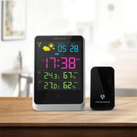 dijital saat takvim ekranı toptan satış-Hava İstasyonu Dijital Çalar Saat Kapalı Açık LED Ekran Ile Takvimler Ücretsiz Nakliye Gösteriliyor Tarih