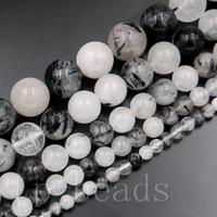 natürliche turmalinperlen schwarz großhandel-Natürliche Edelsteinsteinschwarzer Turmalinquarz-runde Perlen 5 Stränge / Pack 4mm 6mm 8mm 10mm 12mm 15.5