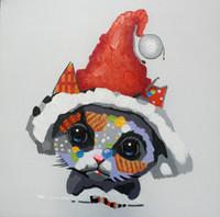 ingrosso foto cappuccio di natale-Dipinto ad olio dipinto a mano Decorazioni astratte Picture Art dipinge su tela Happy Christmas cap cucciolo animale per divano da parete Living Room Decor