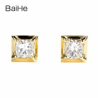 diamante natural 14k al por mayor-BAIHE Sólido 14K Oro Amarillo 0.20ct Princesa Forma I-J / SI 100% Genuinos Diamantes Naturales Boda de Moda Joyería Fina Stud Pendientes S923