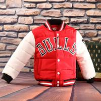 Wholesale kid boys parka - Jacket+tie Fashion Kids Bulls Baseball Parkas Outwear Warm Child Children Teenage Cotton Coat Boy Girl Sports Shirt Christmas