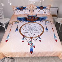 Wholesale owl bedding full resale online - novelty gift owl dreamcatcher feathers pattern bedding duvet Cover set with pillow sham Twin full Queen King size