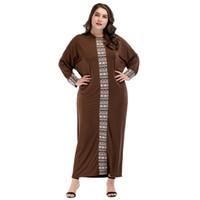 Wholesale women dres - 1854321 Plus Size Muslim Women Solid Lace Splicing Bat Sleeve Loose Long Dres Large Size Women's Dress Middle East Robes Musulman Vestidos