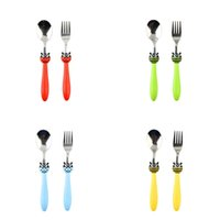 Wholesale dinnerware set cartoon for sale - Group buy Cartoon Children Tableware Creative Bee Stainless Steel Fork Spoon Set Travel Portable Dinnerware Multi Color yy C R