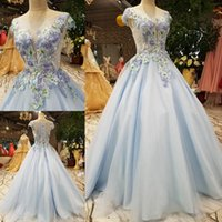 Wholesale crystal fresh water - Fashion Luxurious Prom Dresses Fresh Light Blue Lace Appliques A-line Floor-length Elegant Evening Dresses Party Gown