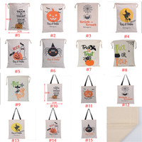 Wholesale 2018 Halloween Large Canvas bags cotton Drawstring Bag With Pumpkin devil spider Hallowmas Gifts Sack Bags