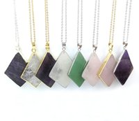 Wholesale JLN Amethyst Quartz Green Aventurine Crystal Pendant Gold Silver Plated Rhombus Gemstone Brass Chain Necklace Gift For Men Women