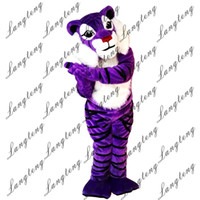 Wholesale christmas outfits for adults for sale - Group buy 2018 New high quality Purple tiger Mascot costumes for adults circus christmas Halloween Outfit Fancy Dress Suit