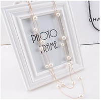 Wholesale multi strand silver pearl necklace - Korean version of multi-layer fashion double layer pearl sweater chain long decorative pendant necklace manufacturers direct sales