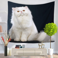 Wholesale bedspread white jacquard - 150cm*130cm Pets White Cats Tapestries Polyester Wall Carpet Living Room Bedspread Sheet Home Decor Wall Hanging Tapestry Beach Towel