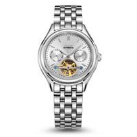 Wholesale Mechanical Automatic Tungsten Men Watch - DOM men's watch hollow automatic mechanical watches Tourbillon waterproof steel business man M-815 Free shipping