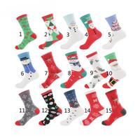 niños calcetines de navidad al por mayor-15 Estilo 2018 Nueva Navidad Calcetines de dibujos animados Mujeres Big Girl boy 75% Algodón de dibujos animados Papá Noel Muñeco de nieve Elk calcetines de tubo medio B