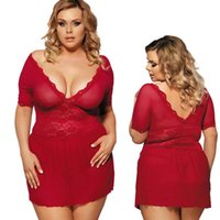 babydoll rojo xxl al por mayor-Lencería sexy más tamaño rojo camisón de encaje con cuello en v babydoll ropa de dormir vestido # R68