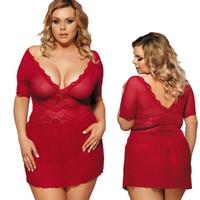kırmızı babydoll xxl toptan satış-Sexy lingerie artı boyutu kırmızı nighty dantel örgü v yaka babydoll pijama elbise # R68