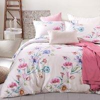 ägyptisch creme großhandel-Pastoral Blumen Bettbezug-Set Königin King Size Bettwäsche aus 100% ägyptischer Baumwolle Solid Color Bedspread / Coverlet Weiche Pillowcase